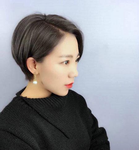 女生撇耳短发 流行女生发型 女生短发发型1