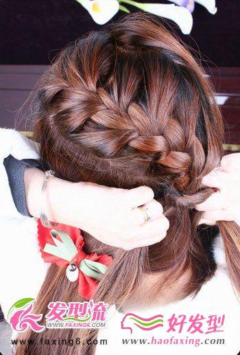 蝎子辫韩式发型扎法步骤