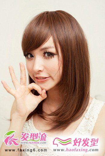 斜刘海直发发型