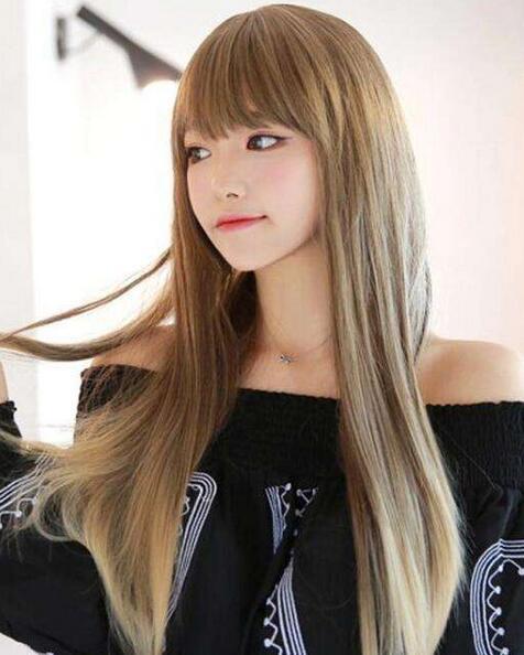 最新流行显白有气质奶茶色头发女图片05