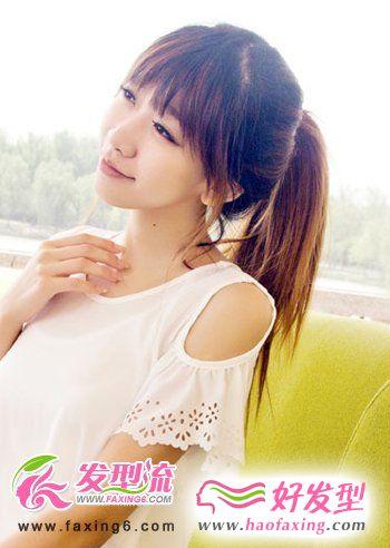 齐刘海发型+青春马尾