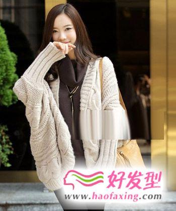 秋冬穿毛衣女生发型图片 浪漫甜美气质