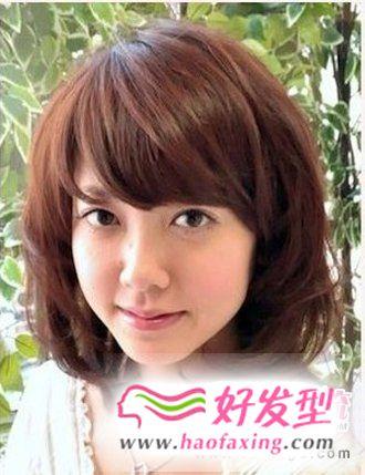 五款圆脸适合的梨花头发型图片