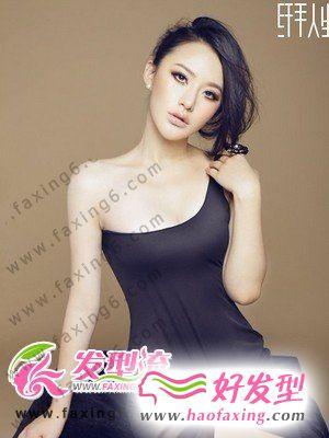 蓬松斜刘海发型