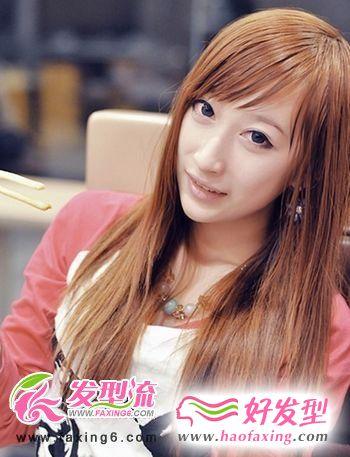 斜刘海直发发型设计