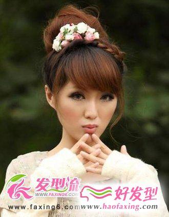 花苞头韩式发型扎法