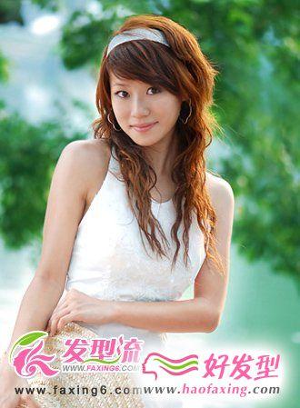 斜刘海烫发发型