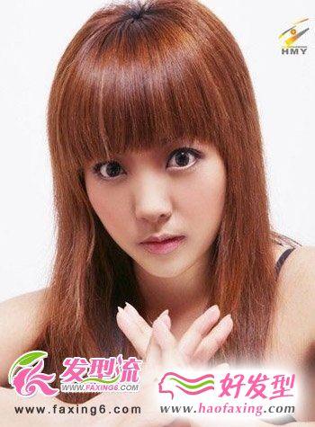平刘海直发发型